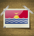 Flags Kiribati at frame on a brick background vector image vector image