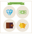 Flat Finance Website Icons Set vector image vector image