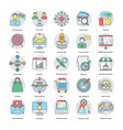 flat icons set of digital and internet mar vector image vector image