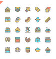 flat line bakery shop elements icons vector image