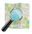 folded city map abstract cartography with zooming vector image vector image