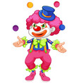 funny clown juggling ball on white background vector image vector image
