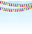 Garland colored lights on blue festive background vector image vector image