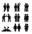 gay lesbian heterosexual icon concept pictogram vector image