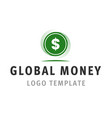 global money logo template vector image vector image