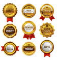 gold badges seal quality labels sale medal badge vector image vector image