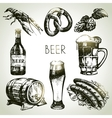 Hand drawn Oktoberfest set of beer vector image