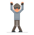 hands up surrender caught evil greedily thief vector image
