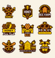 honey logo apiary badges bee signs for organic vector image