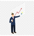 Isometric man with chart vector image