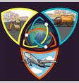 logistic concept infographics triple step vector image vector image