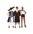 male and female eccentric fashion models posing vector image vector image