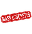 Massachusetts red square grunge retro style sign vector image vector image