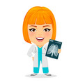 medical doctor woman with x-ray photograph funny vector image vector image