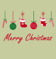 merry christmas sign text with santa claus socks vector image vector image