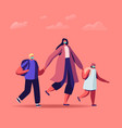 mother character bringing little daughter and son vector image vector image