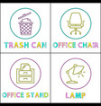 office enviroment elements round linear icons set vector image
