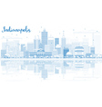 Outline Indianapolis Skyline with Blue Buildings vector image vector image