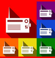 radio sign set of icons with vector image
