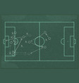 realistic blackboard drawing a soccer game vector image