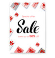 sale gift boxes with red ribbons and bows on vector image vector image