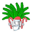 santa with candy fresh fern branch isolated on vector image vector image