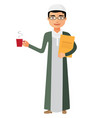 saudi arab businessman with a cup of tea vector image vector image