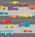 seamless pattern with cars on road vector image vector image