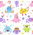 seamless pattern with cute monsters vector image vector image