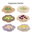 set of different cartoon legumes labels isolated vector image vector image