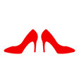 shoe store label red shoe on hill icon shop vector image