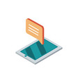 smartphone talk bubble message mail isometric vector image