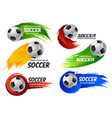 soccer football ball sport game emblems vector image vector image