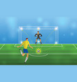 soccer player in action penalties on stadium vector image