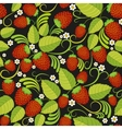 Strawberries seamless background with green leaves vector image vector image