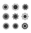 sun flat icon set on white background vector image vector image
