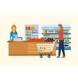 Supermarket store concept with food assortment vector image