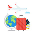 travel planning passport airplane ticket world map vector image vector image