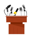 tribune with microphones prepared for conference vector image vector image