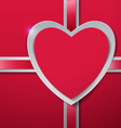 Valentines Day Heart cut from Paper with Ribbon vector image