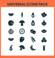 vegetable icons set with coconut olives vector image