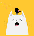 white cat face silhouette meowing singing song vector image