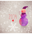 Winter backdrop with snowman made of triangles vector image vector image