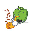 with trumpet green apple character cartoon vector image vector image