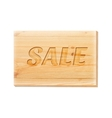 Wooden board with sale text isolated over white vector image vector image