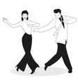 Young couple dressed in retro clothes dancing tap