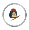 Dip pen with inkwell icon in cartoon style vector image