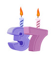 37 years birthday number with festive candle for vector image