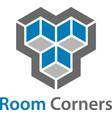 3d isometric empty room corners symbol vector image vector image