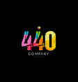 440 number grunge color rainbow numeral digit logo vector image vector image